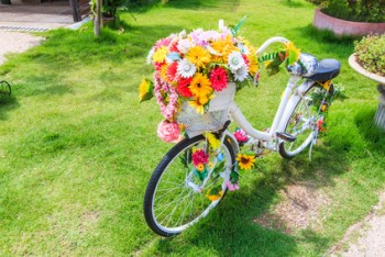 Flower on a bicycle as garden decoration